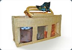 Jute Gift Bag - 3 Jar Bag